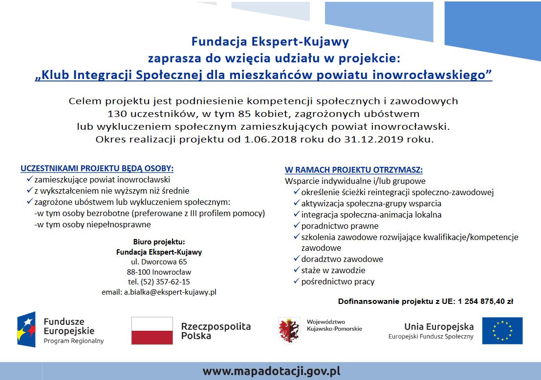 Plakat Klub Integracji Społecznej dla mieszkańców powiatu inowrocławskiego